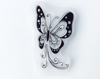 For Scrapbooking, Rubber Stamping & Handmade Cards 1 Clear Acrylic Stamp - Butterfly # 20