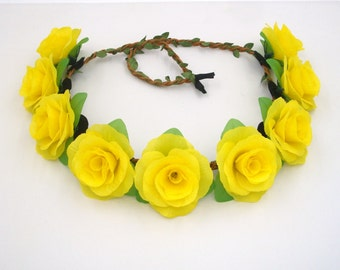 Yellow Flower Crown,Yellow Rose Headband,Yellow Flower Headband,Yellow Rose Crown,Girls,Women,Adult,Floral Crown,Halo,Festival Hair Wreath