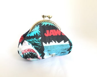 JAWS - great white - shark week inspired large coin purse kiss clasp