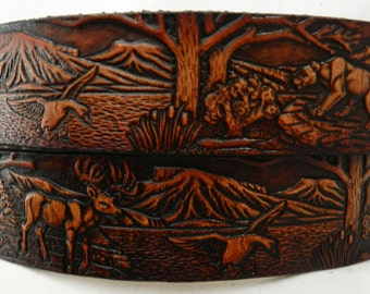 Child's Name Belt, NBTK610  Forest scene/deer