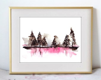 A Misty Dawn, Print of Original Watercolor Painting
