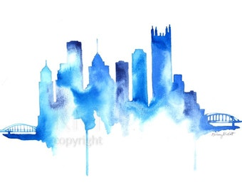 Pittsburgh Skyline Watercolor Painting Print -  Home decor and scenic wall art Pittsburgh, Pennsylvania