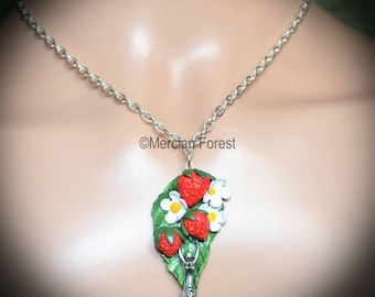 Strawberry Fields Pagan Necklace - Handmade Pagan, Wiccan Jewellery Celebrating Summer, Lughnasadh, Mabon, and the Harvest