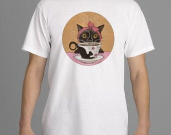 T-Shirt, Tee Shirt, Coffee Kitty, Wide Awake T-shirt, size L and XL, great gift for cat lover or coffee lover in your life