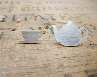 Silver tea time earrings