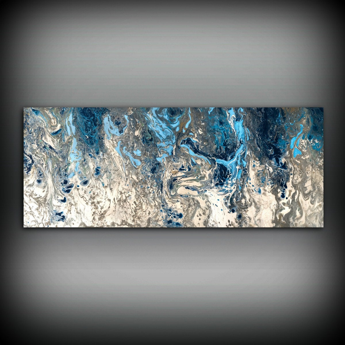 Blue Abstract Wall Decor : Large abstract painting print navy blue art