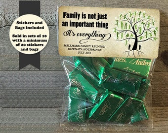 Family Reunion Stickers and Bags, Family Reunion Favors, Family Gatherings, Reunion Treat Bags, Reunion Party Favor Stickers and Bags