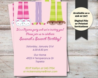 Pajama Birthday Party Invitations, Slumber Party Invitations, Sleepover Birthday Invitations, Sleep Over, Digital File or Printed Cards
