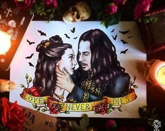 Original painting and prints! Bram Stoker's Dracula Tattoo Flash, Mina and Dracula