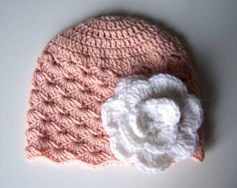 Baby hat crochet, peach newborn baby beanie, newborn beanie, crochet beanie for baby