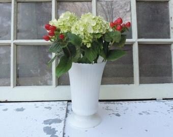Vintage Vase White  Milk Glass  Ribbed Ruffled Glass 7 1/2 in. Vase Wedding Decor Vase Milk Glass