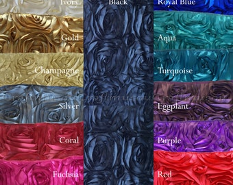 """12""""x108"""" Satin ROSETTE Table Runner For Wedding Party Banquet (12 Colors) -- 3D runner, table cover, decor"""