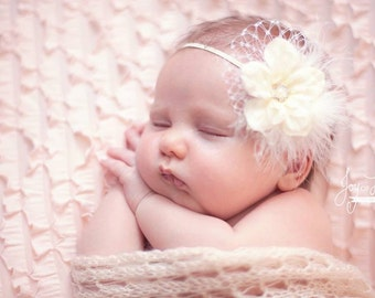 Ivory Baby Flower Headband, Baby Christening Headband, Ivory Silk Flower Headband, Ivory Baby Baptism Headband, Ivory Feather and Birdcage