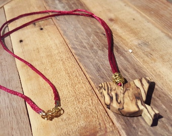 Spalted Maple Bird Necklace - NBS011