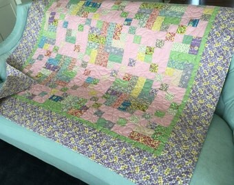 30s Reproduction Quilt  Bright and colorful Lap/Throw or large Baby girl quilt Purple and pink and yellow