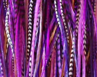"7""-11"" Thin Dark Purple, Violet, Black & Grizzly 5 Feathers"