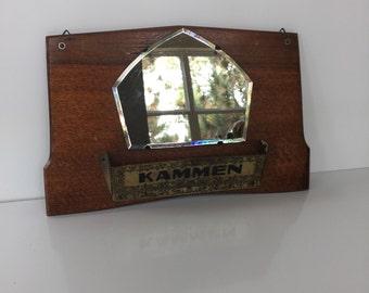 Vintage German Bathroom Mirror With Comb Storage