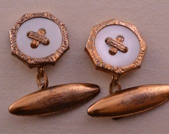 Gilt Vintage 1930's Cufflinks With Mother-Of-Pearl
