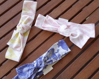 Top Knot Headbands: Aqua stars, blush/gold arrows and pink spots - Set of 3