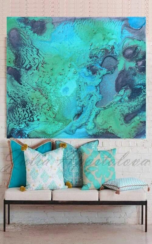 Turquoise Print Aqua Wall Art Abstract Painting Tropical