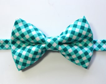 Teal Green Cross Check Bow Tie For Boy/Baby/Teen/Adult/With Adjustable strap/Clipon
