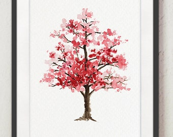 Cherry Blossom Tree Watercolor Painting, Floral Giclee Wall Art Print, Baby Girl Nursery Decor, Pink Blossom, Oriental Art Illustration