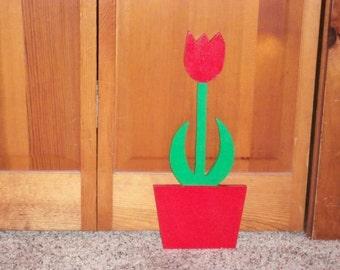 Tulip in a flower pot - plaque