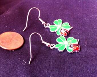 Lady Bug and Four Leaf Clover Earrings, Lucky Charm Earrings, St. Patrick's Day Earrings, Enamel Earrings