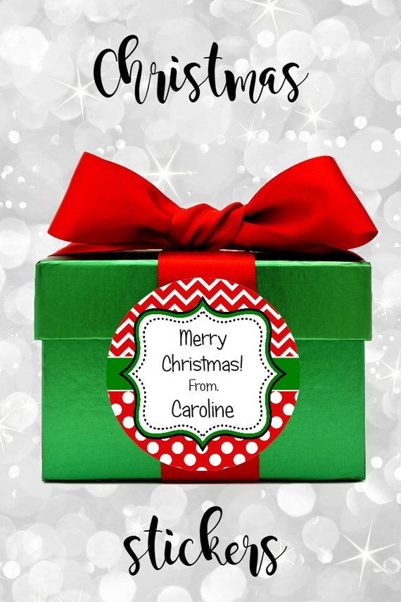 Chevron Christmas Stickers - Christmas Labels - Personalized Stickers - Christmas Tags - Round Labels - Chevron - Dots