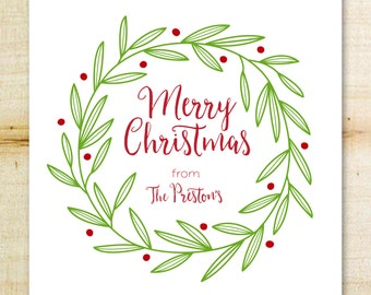 Christmas Gift Sticker | Holiday Tags | Green Leaves & Berries Christmas Gift Tags, Holiday Labels | Custom Christmas Tags | Customized Tags