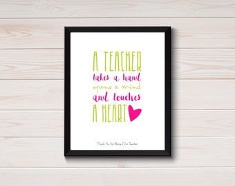 Teacher Quote Printable, Best Teacher Gifts, Printable Teacher Art Prints, Teacher Appreciation Gift, Classroom Art, End of Year Teacher