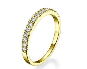 Eternity Wedding Band-Diamond Engagment Ring-wedding band yellow gold-Diamond Band, Anniversary Gift - Half-Eternity Ring-wedding band women