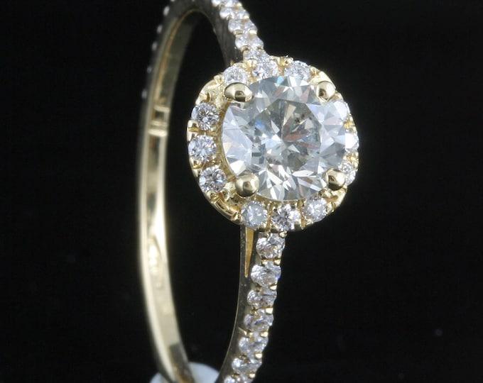Diamond Engagement Ring 1 ct - Yellow Gold Engagement Ring - Engagement Ring Side Stones - Bridal Jewellery - Anniversary -wedding band