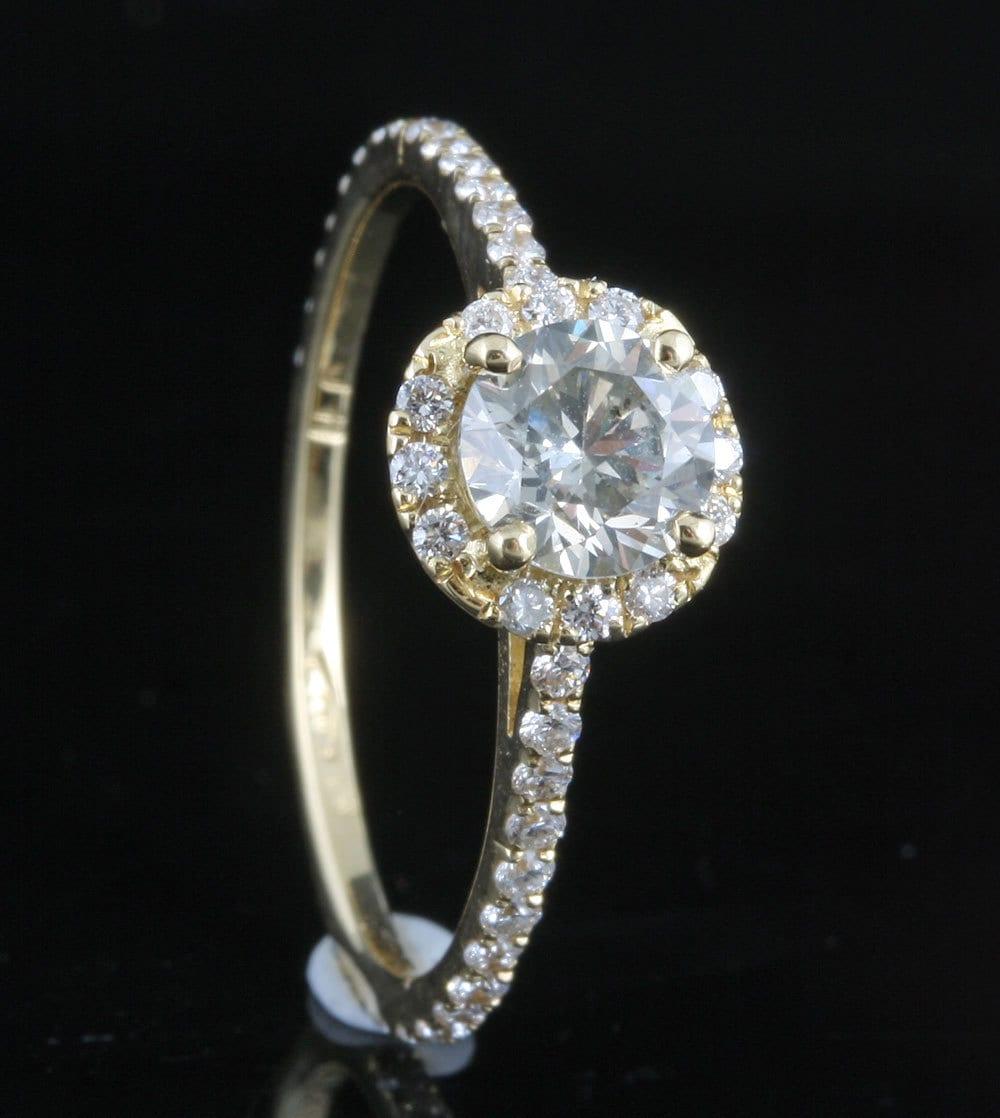 Engagement ring christmas ornament -  Diamond Engagement Ring 1 Ct Yellow Gold Engagement Ring Engagement Ring Side Stones