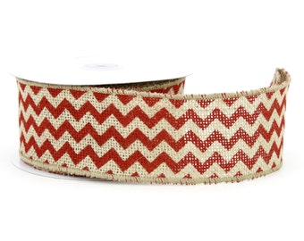 """2.5"""" by 10 yards Burlap Chevron Wired Ribbon. Good for wreaths, baskets.  Also available in other colors(BCR25-xx)"""