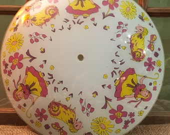 Vintage Glass Ceiling Light Cover. Little Bo Peep and Her Sheep. Pink and Yellow. 1950's