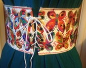 Vintage 60s 70s Boho Lace-up Belt Hippie Embroidered Multicolor Butterflies White Vinyl Age of Aquarius Small