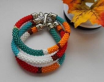 3 Strand bead crochet Bracelet - Bead beadwork jewelry boho bead crochet multi-colored patchwork jewelry