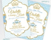 Gold glitter and blue Princess birthday party printable invitation, digital invitation