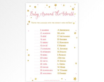 Pink and glitter Twinkle, twinkle, little star Baby Around the World, baby shower printable game INSTANT DOWNLOAD