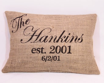 Personalized Mr. & Mrs. last name, est., date monogrammed black (or custom color) rustic burlap pillow cover/sham-Custom sizes and colors