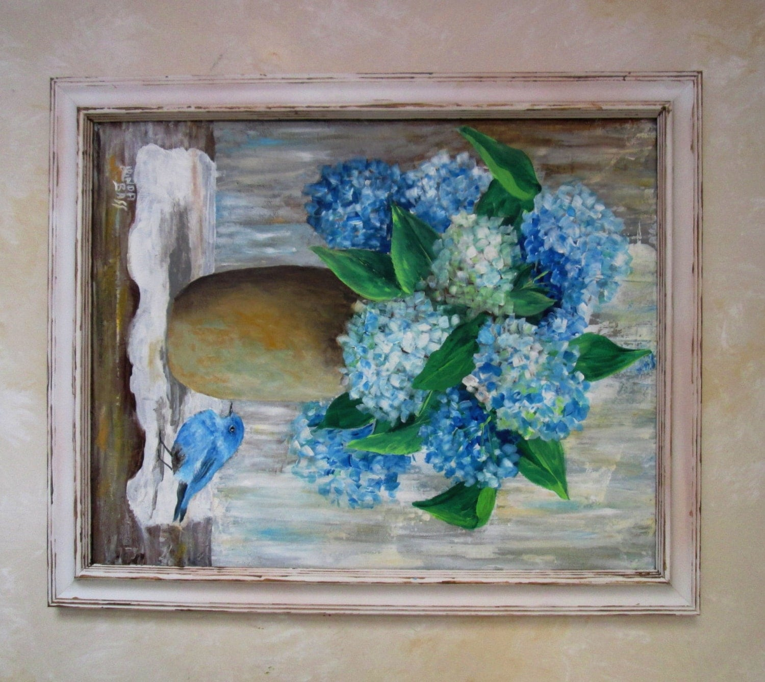 original hydrangea painting 16x20 canvas frame included. Black Bedroom Furniture Sets. Home Design Ideas