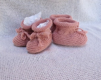 100% Cashmere Baby / Infant Booties. Ages 0-6 M, 6-12 M. Hand Knitted. Ready to ship.