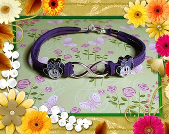 On Sale Minnie with purple  bow and Infinity Bracelet
