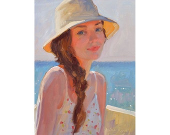A Summer Afternoon - original oil painting - FREE SHIPPING WORLDWIDE