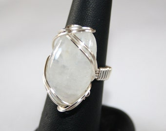 Rainbow Moonstone Ring size 7/N, Wire Wrapped Ring, Wire Ring, Wire Wrap Ring,  Wire Wrapped Jewelry, Pharaoh Ring, Moonstone Jewelry, OOAK