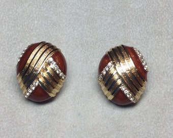 Vintage HR Paris Helena Rubinstein Clip On Earrings Deep Burgandy Gold Ribbed Ribbon Clear Rhinestone Accents Oval Costume Jewelry