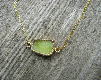 Lime Green Druzy Pendant, Gold Necklace, 25x10mm Gemstone, Bridesmaid Jewelry