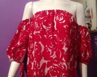 Off shoulder floral red top