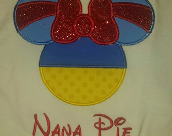 Snow White Mouse Head Disney Vacation Custom Applique Princess